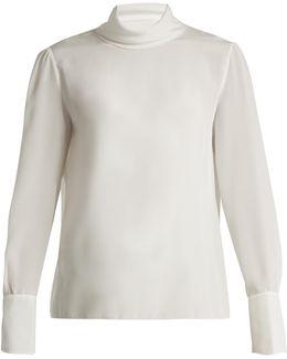 High-neck Silk Blouse