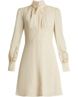 Broderie Anglaise-cuff Cady Dress