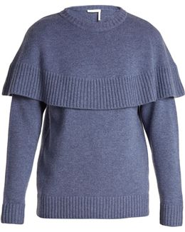 Iconic Cape-overlay Cashmere Sweater
