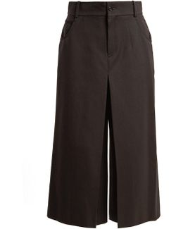 High-rise Wide-leg Wool-blend Cropped Trousers