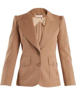 Peak-lapel Single-breasted Wool-blend Jacket
