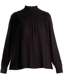 Embroidered Crepe Blouse