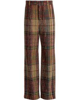 Wide-leg Wool-blend Tweed Trousers