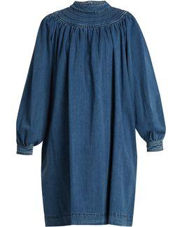 Balloon-sleeved Gathered Denim Dress