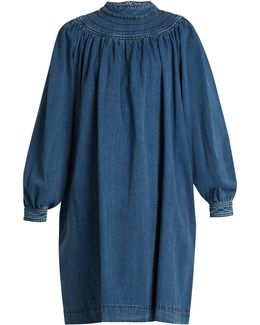 Balloon-sleeved Gathered Denim Dress