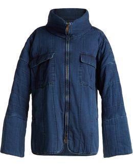 Oversized Funnel-neck Quilted Denim Coat
