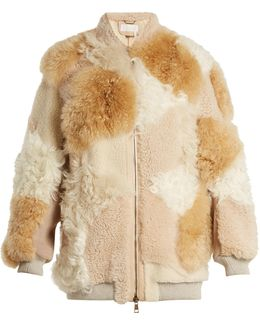 Contrast-panel Shearling Coat