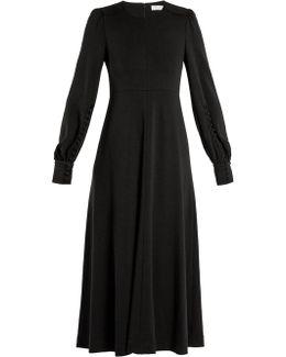 Long-sleeved Wool-jersey Midi Dress