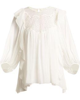 Lace-yoke Butterfly-hem Silk-crepon Top