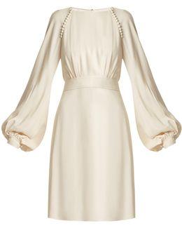 Waist-tie Blouson-sleeve Cady Dress