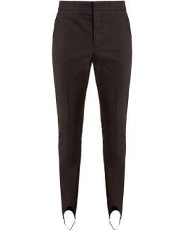 Mid-rise Slim-leg Stirrup-hem Trousers