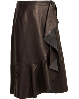Ruffled-panel Leather Skirt