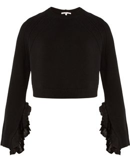 Ruffle-trimmed Wool And Cashmere-blend Sweater