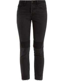 Patchwork High-rise Cropped Jeans