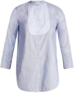 Ottoman-striped Cotton Tuxedo Shirt