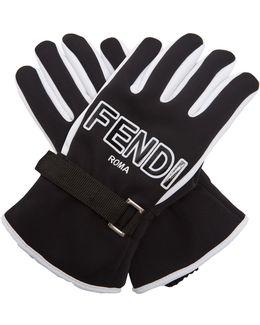 Bi-colour Logo-print Gloves
