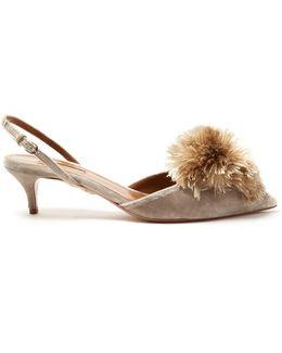 Powder Puff Kitten-heel Velvet Pumps