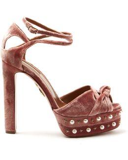 Harlow Embellished Velvet Sandals