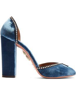 Lou Lou Embellished Block-heel Velvet Pumps