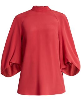 High-neck Silk-crepe De Chine Top