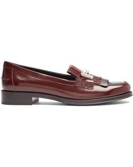 Gomma T-bar Fringed Leather Loafers