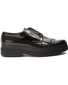 Fringed Brogue-detail Leather Creepers