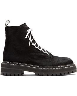 Tread-sole Calf-hair Ankle Boots