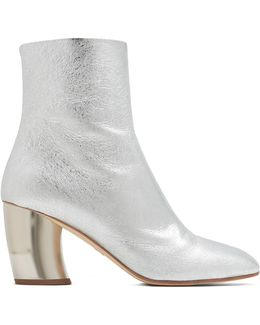 Curved-heel Leather Ankle Boots