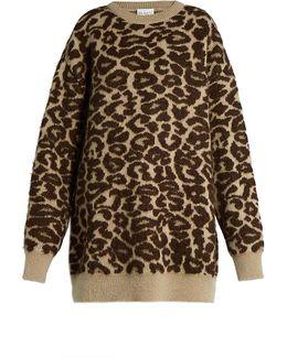 Oversized Leopard-jacquard Mohair-blend Sweater