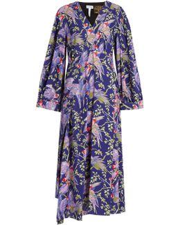 X Paula's Ibiza Bird-print Midi Dress