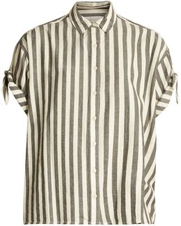 The Tie Sleeve Big Striped Cotton Shirt