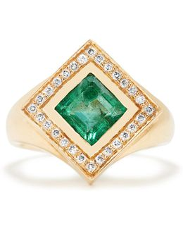 Diamond, Emerald & Yellow-gold Kite Ring