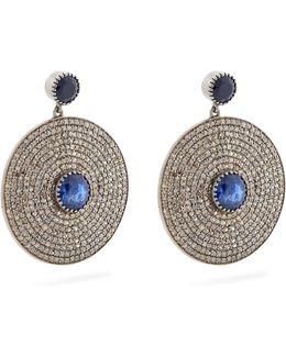Diamond, Sapphire & White-gold Earrings
