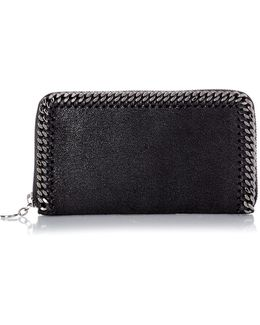 Falabella Faux-suede Zip-around Wallet