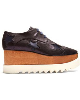 Elyse Lace-up Glitter-effect Platform Shoes
