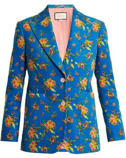 Single-breasted Floral-print Corduroy Jacket