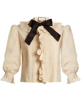Ruffle-trimmed Bow-neck Stretch-cotton Blouse