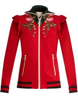 Ruffled-shoulder Zip-through Jersey Jacket