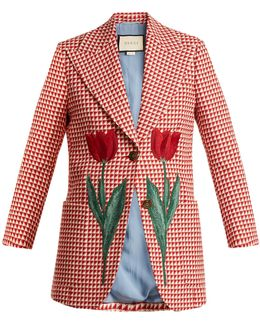 Tulip-embroidered Checked Wool-blend Jacket
