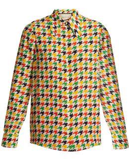 Hound's-tooth Print Silk Shirt