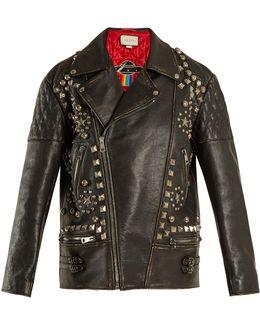 Stud-embellished Oversized Distressed Leather Jacket