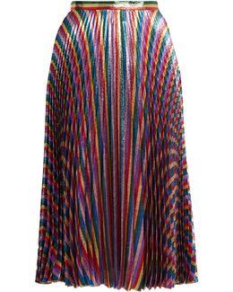 Striped High-rise Pleated Midi Skirt