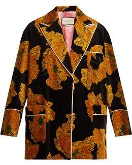 Poppy-print Piped-edge Velvet Jacket