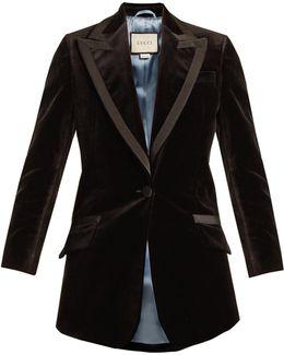 Single-breasted Tiger-embroidered Velvet Jacket