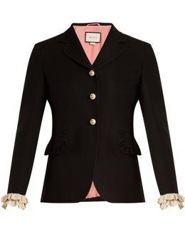 Ruffled-cuff Wool And Silk-blend Jacket
