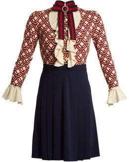 Vintage Circle-print Stretch-cady Dress