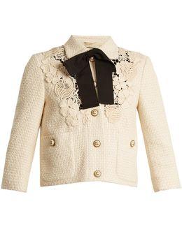 Macramé-lace Embellished Tweed Cropped Jacket