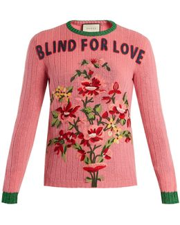 Floral-embroidered Ribbed-knit Wool Sweater