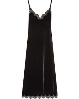 Bow-embellished Lace-trimmed Velvet Dress