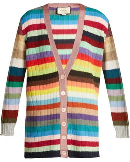 Striped Cashmere And Wool-blend Cardigan